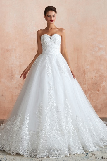 Stylish Strapless Low Back White Lace Wedding Dress