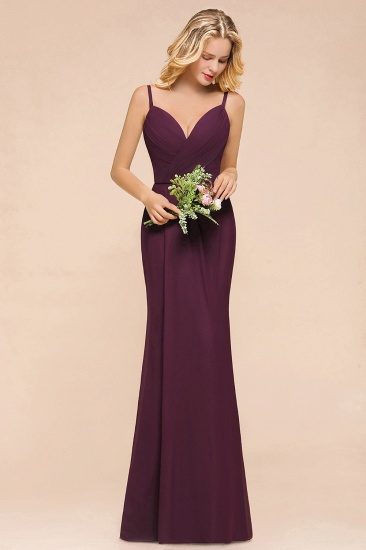 Fantastic Spaghetti Straps V-Neck Grape Bridesmaid Dress with Ruffle_8