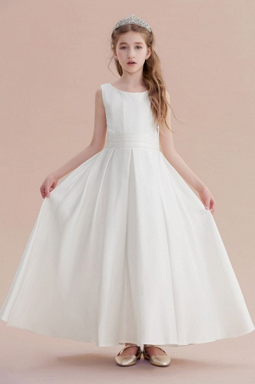 BMbridal A-Line Simple Satin Flower Girl Dress On Sale_5
