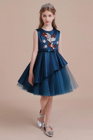 BMbridal A-Line Embroidered Satin Tulle Flower Girl Dress On Sale_5