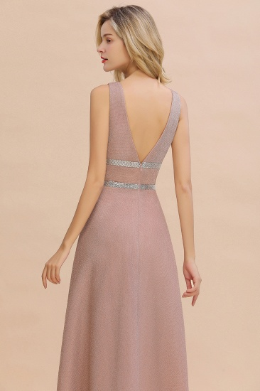 Shinning V-Neck Sleeveless Long Prom Dress Online With Zipper Back_7