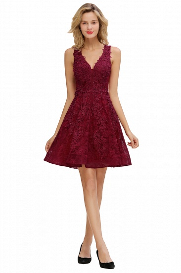 Burgundy Sleeveless Lace Short Prom Dress Mini Party Gowns Online_10