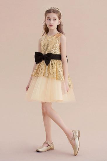 BMbridal A-Line Tulle Sequins Bows Knee Length Flower Girl Dress On Sale_6
