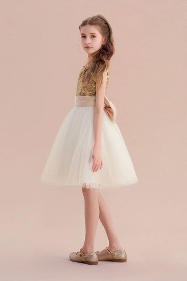 BMbridal A-Line Sequins Tulle Bow Flower Girl Dress On Sale_5