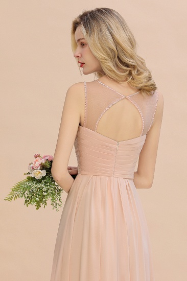 Elegant Spaghetti Straps Pink Backless Bridesmaid Dresses with Beadings_9