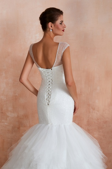 BMbridal Sparkly Mermaid Sweetheart White Tulle Wedding Dresses with Sequins_9