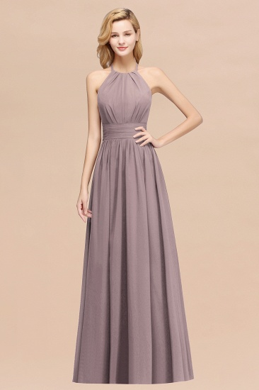 BMbridal Elegant High-Neck Halter Long Affordable Bridesmaid Dresses with Ruffles_37