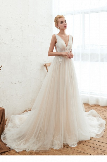 BMbridal Affordable Tulle V-Neck Ruffle Long Wedding Dress with Appliques_4