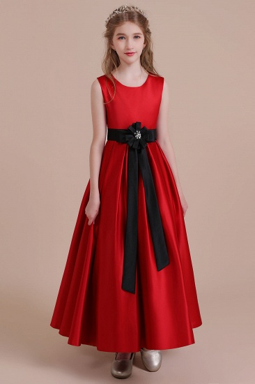 BMbridal A-Line Elegant Satin Flower Girl Dress Online_1