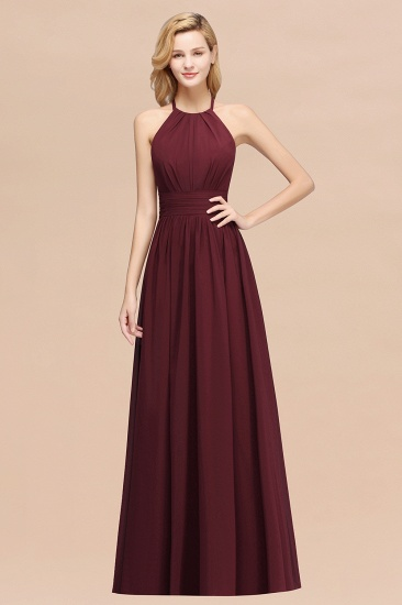 Elegant High-Neck Halter Long Affordable Bridesmaid Dresses with Ruffles_10
