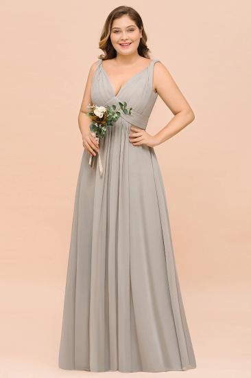 Plus Size Chiffon V-neck Sleeveless Affordable Bridesmaid Dress with Ruffle_5