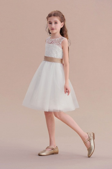 BMbridal A-Line Bow Tulle Lace Knee Length Flower Girl Dress Online_4