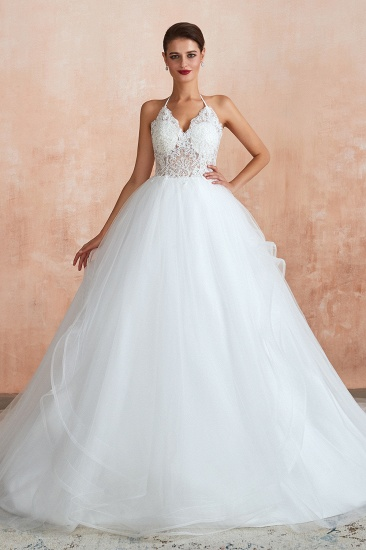 Exquisite Lace Halter Ball Gown White Wedding Dress