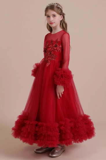 BMbridal A-Line Long Sleeve Applique Tulle Flower Girl Dress On Sale_5