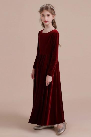 BMbridal A-Line Long Sleeve Velvet Flower Girl Dress On Sale_5