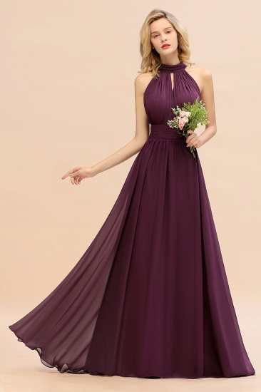 Glamorous High-Neck Halter Bridesmaid Affordable Dresses with Ruffle_54