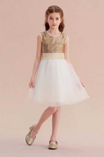 BMbridal A-Line Sequins Tulle Bow Flower Girl Dress On Sale_4