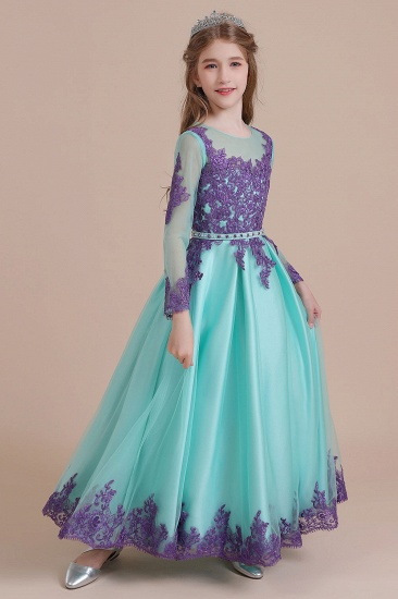 BMbridal A-Line Chic Long Sleeve Appliques Flower Girl Dress Online_8