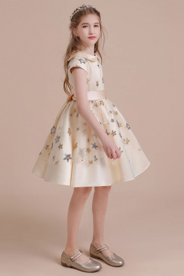 BMbridal A-Line Cap Sleeve Star Sequins Tulle Flower Girl Dress Online_7