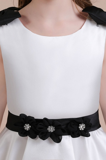 BMbridal A-Line Latest Satin Knee Length Flower Girl Dress Online_7