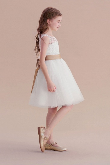 BMbridal A-Line Bow Tulle Lace Knee Length Flower Girl Dress Online_5
