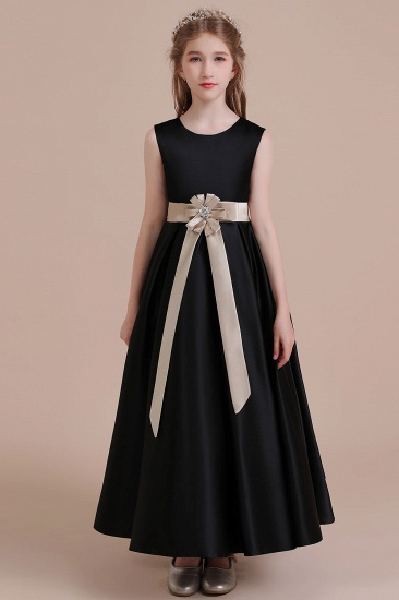 BMbridal A-Line Elegant Satin Flower Girl Dress Online