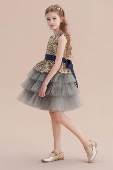 BMbridal A-Line Sequins Tulle Knee Length Flower Girl Dress On Sale_4