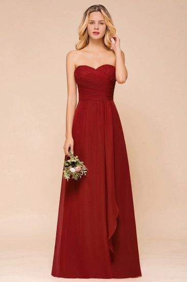 Gorgeous Sweetheart Strapless Rust Bridesmaid Dresses with Ruffle_4