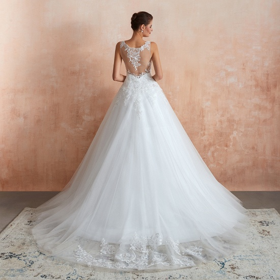 Fantastic Tulle Appliques Sleeveless White Wedding Dresses Online_7