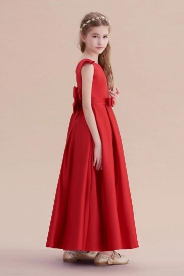 BMbridal A-Line Satin Bow Ankle Length Flower Girl Dress On Sale_6