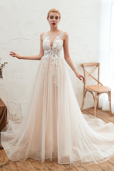 Unique Tulle V Neck Ivory Appliques Wedding Dress