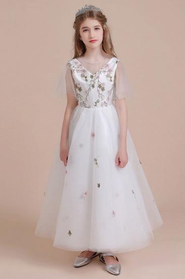 BMbridal A-Line Short Sleeve Embroidered Tulle Flower Girl Dress On Sale_4