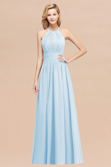 Elegant High-Neck Halter Long Affordable Bridesmaid Dresses with Ruffles_23