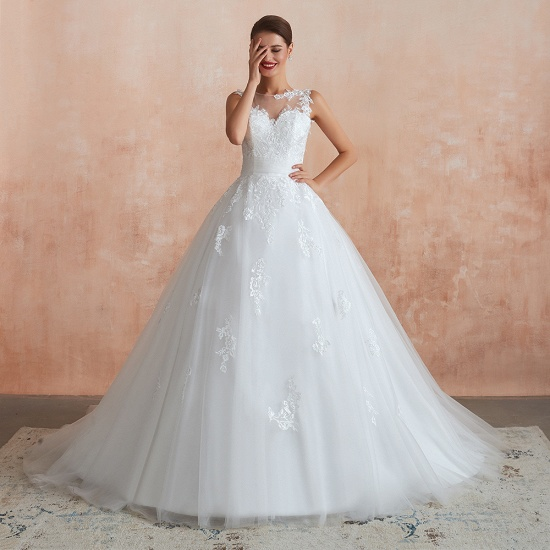 Affordable Sweetheart Sleeveless White Lace Wedding Dresses Online_5