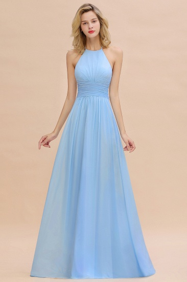 Chiffon Halter Backless Long Bridesmaid Dress