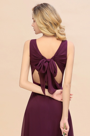 BMbridal Affordable V-Neck Ruffle Long Grape Chiffon Bridesmaid Dress with Bow_58