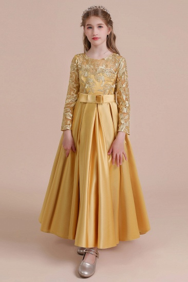 BMbridal A-Line Long Sleeve Satin Ankle Length Flower Girl Dress Online_10