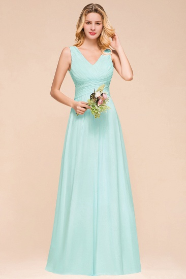Chic V-Neck Sleeveless Mint Green Bridesmaid Dresses with Ruffle_6