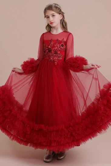 BMbridal A-Line Long Sleeve Applique Tulle Flower Girl Dress On Sale_4