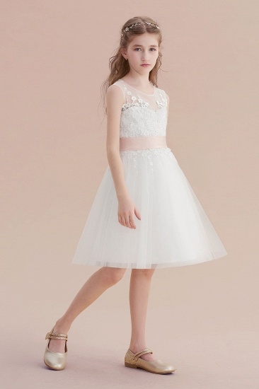 BMbridal A-Line Illusion Appliques Tulle Flower Girl Dress Online_5