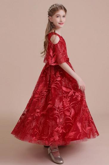 BMbridal A-Line V-neck Tulle Cold-shoulder Flower Girl Dress On Sale_9