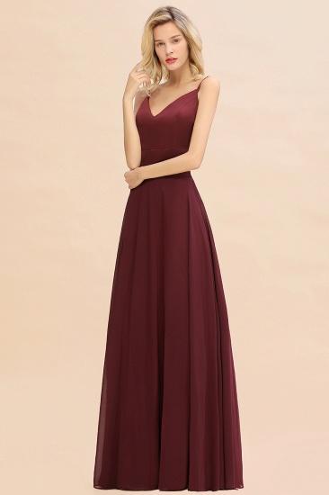 BMbridal Simple Satin Chiffon Spaghetti-Straps Burgundy Long Bridesmaid Dress_6