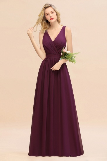 BMbridal Affordable V-Neck Ruffle Long Grape Chiffon Bridesmaid Dress with Bow_1