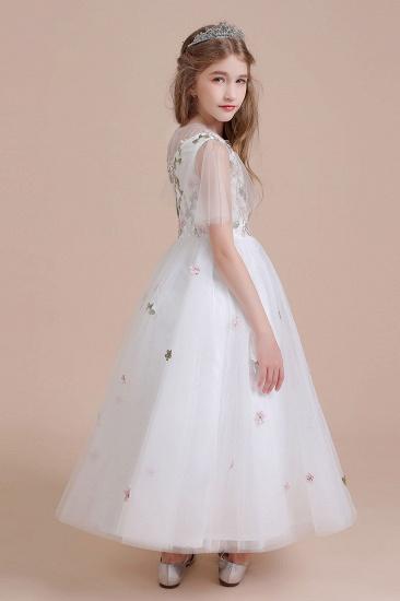 BMbridal A-Line Short Sleeve Embroidered Tulle Flower Girl Dress On Sale_9