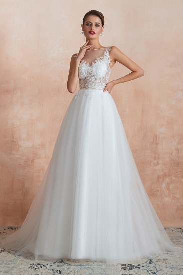 Exquisite Sequins White Tulle Affordable Wedding Dresses with Appliques_7