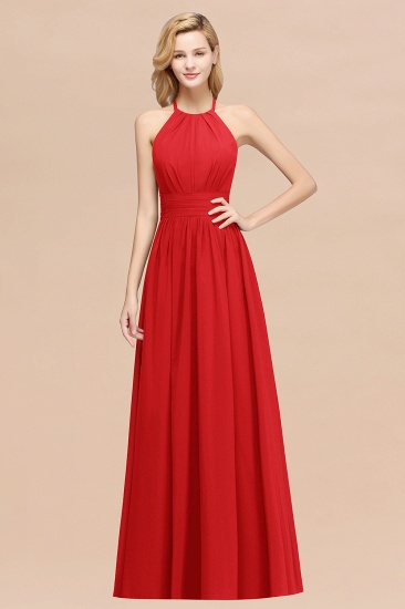 Elegant High-Neck Halter Long Affordable Bridesmaid Dresses with Ruffles_8