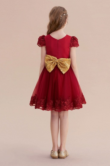 BMbridal A-Line Cap Sleeve Bow Knee Length Flower Girl Dress Online_3