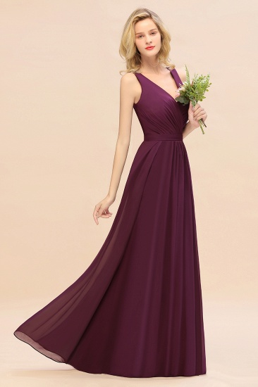 BMbridal Affordable V-Neck Ruffle Long Grape Chiffon Bridesmaid Dress with Bow_2