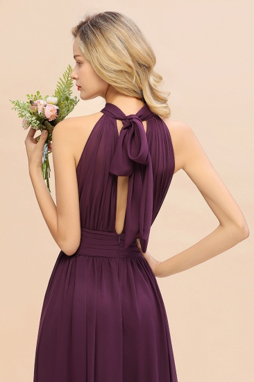 Glamorous High-Neck Halter Bridesmaid Affordable Dresses with Ruffle_58