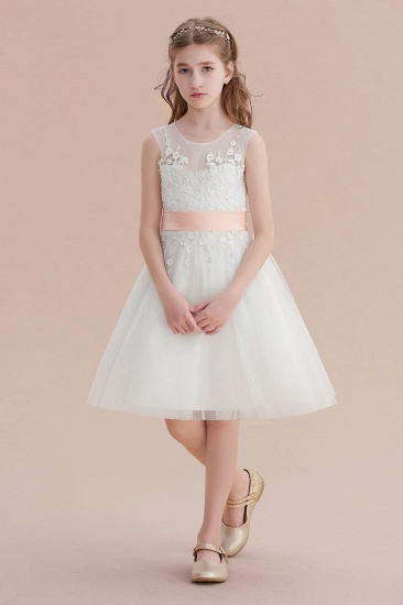 BMbridal A-Line Illusion Appliques Tulle Flower Girl Dress Online_1